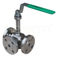 Three-way ball valve for high temperatures,